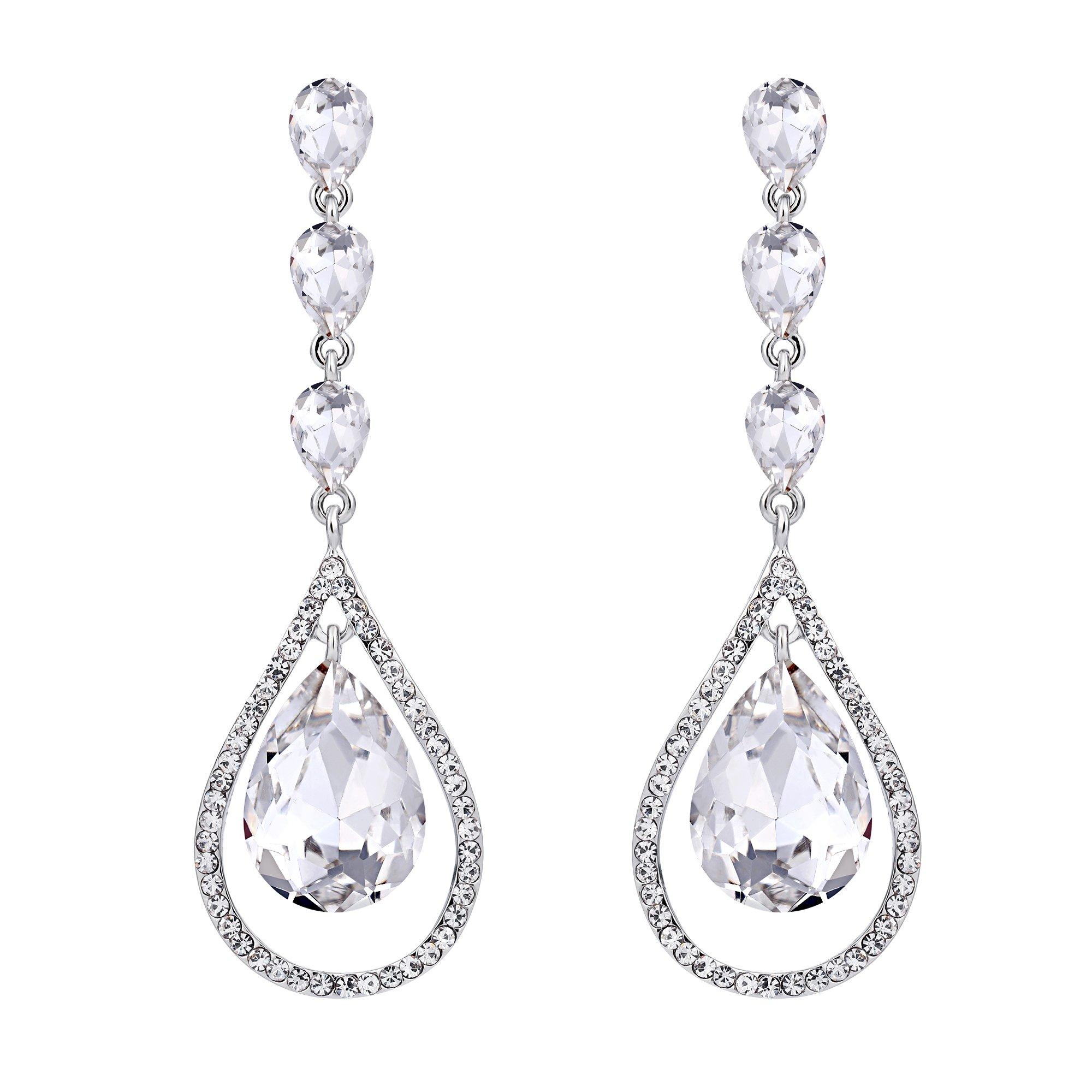 EVER FAITH Austrian Crystal Bridal Hollow-out Teardrop Pierced Dangle Earrings Clear Silver-Tone