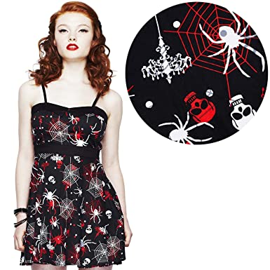 8430586f8eb Hell Bunny Kirsty Gothic Skull Spider Web Mini Dress (XLarge) at Amazon  Women s Clothing store