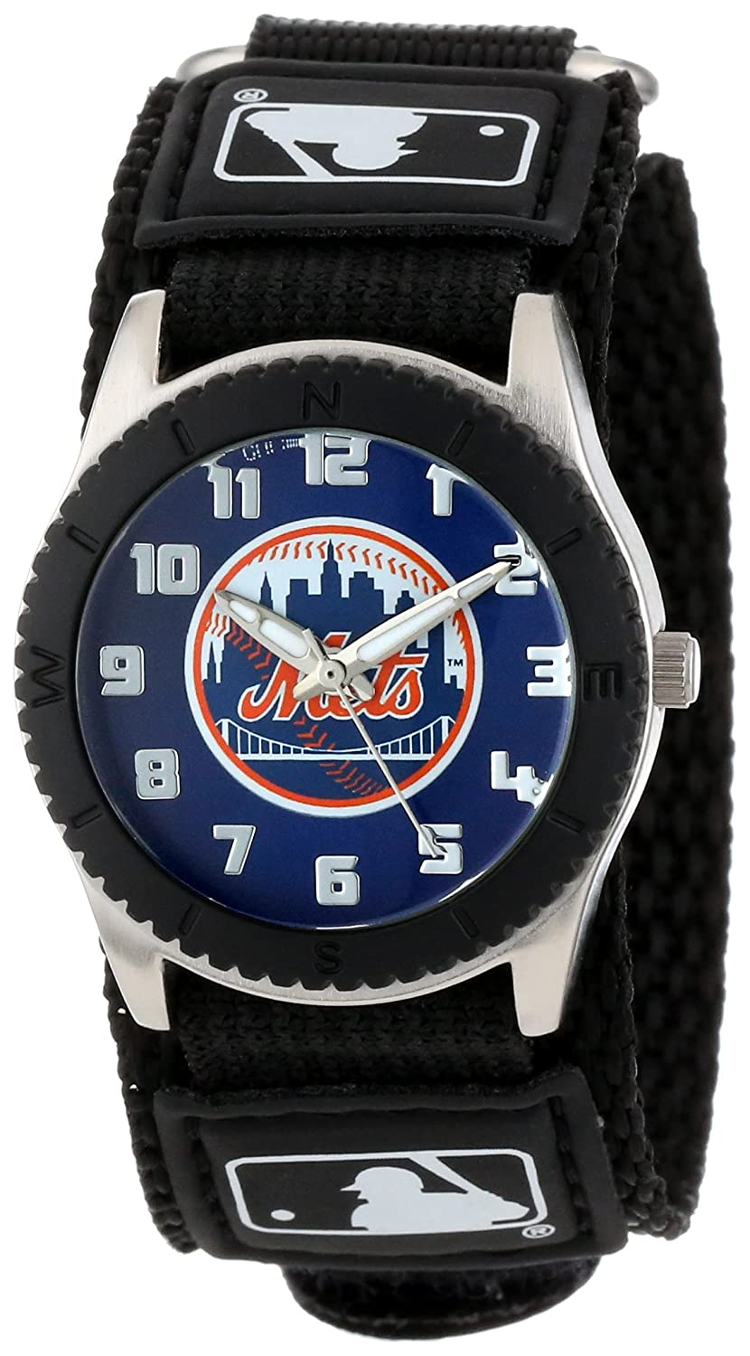 Game Time Men's 'Rookie' Quartz Metal and Nylon Casual Watch Color Black Model MLB ROB NYM