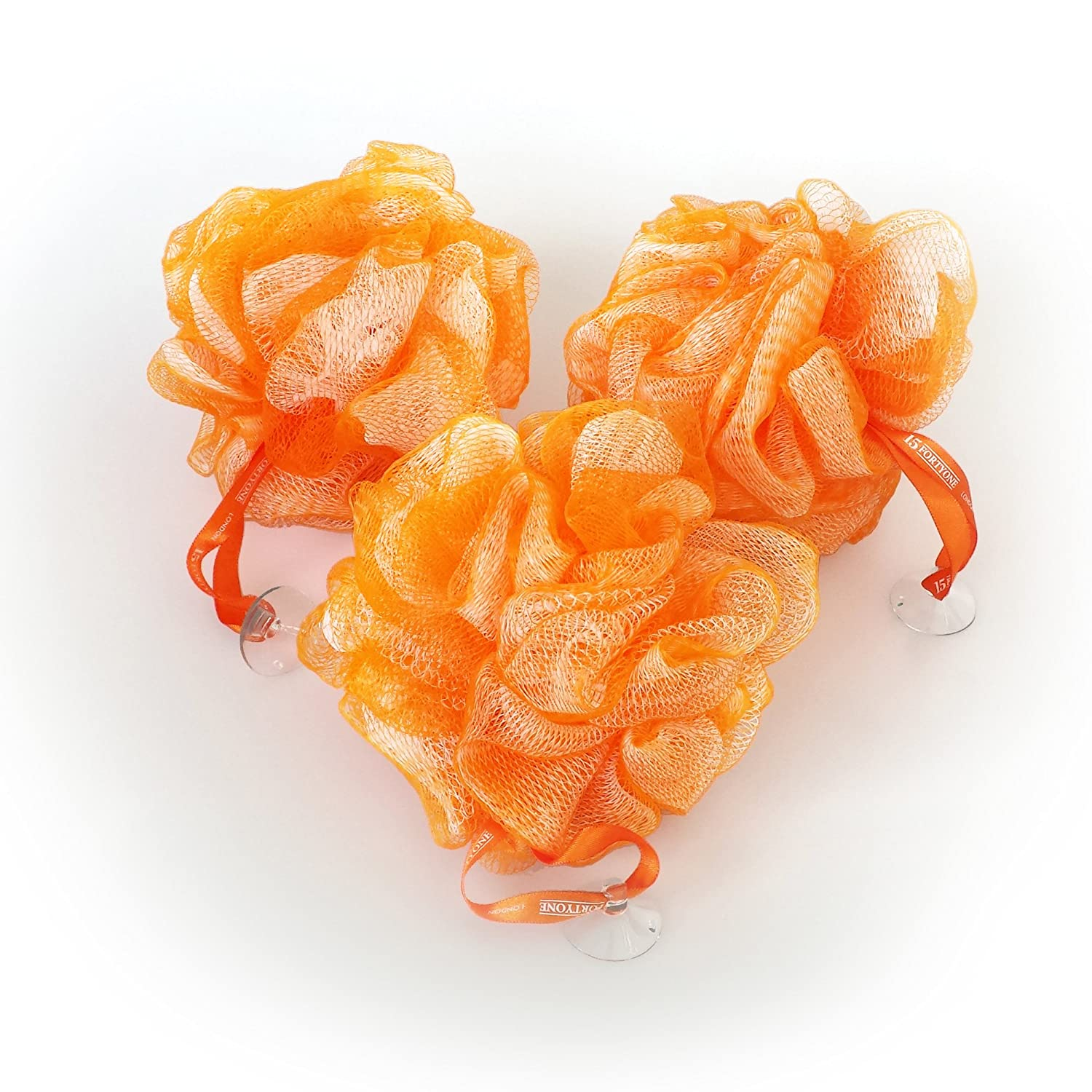 1541 London Exfoliating Bath & Shower Body Puff / Scrunchie / Buffer (Tangerine Orange) 3 pack