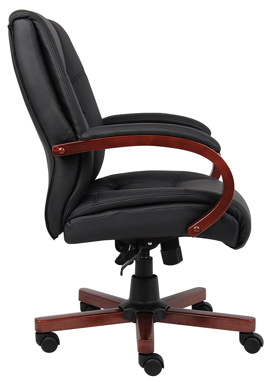 Amazon.com: Boss Office Products B8996 C Mid Back Executive Wood Chair With  Cherry Finish In Black: Kitchen U0026 Dining