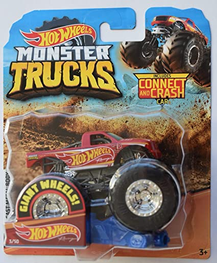 Amazon Com Hot Wheels Monter Trucks 1 64 Scale Red Racing Truck 3 50 Giant Wheels Includes Connect And Crash Car Toys Games