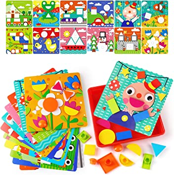 Button Art Preschool Learning Toys Color Matching Mosaic Pegboard Set For 3 Yea