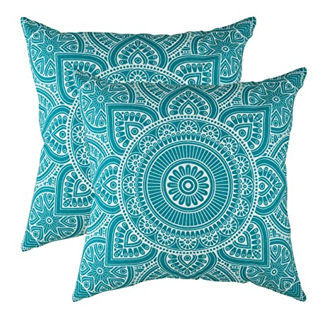TreeWool Decorative Square Throw Pillowcases Set Mandala Accent 100% Cotton Cushion Cases Pillow Covers (16 x 16 Inches / 40 x 40 cm, Turquoise in ...