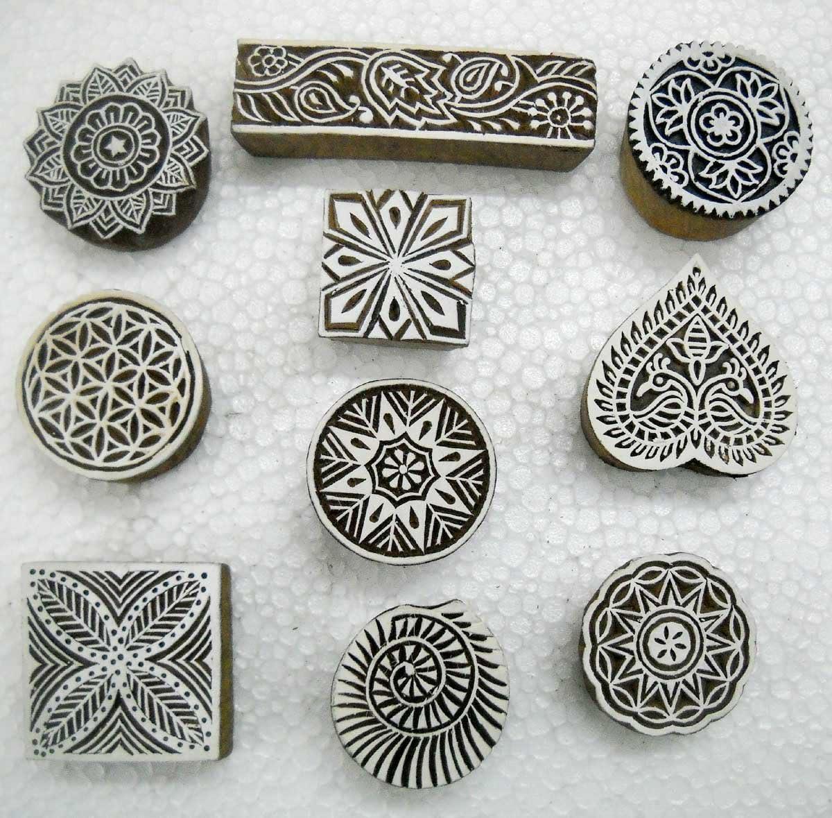 Lotto all ingrosso di 10/classico design in legno Block stamp//Tattoo//Indian Textile Printing Blocks