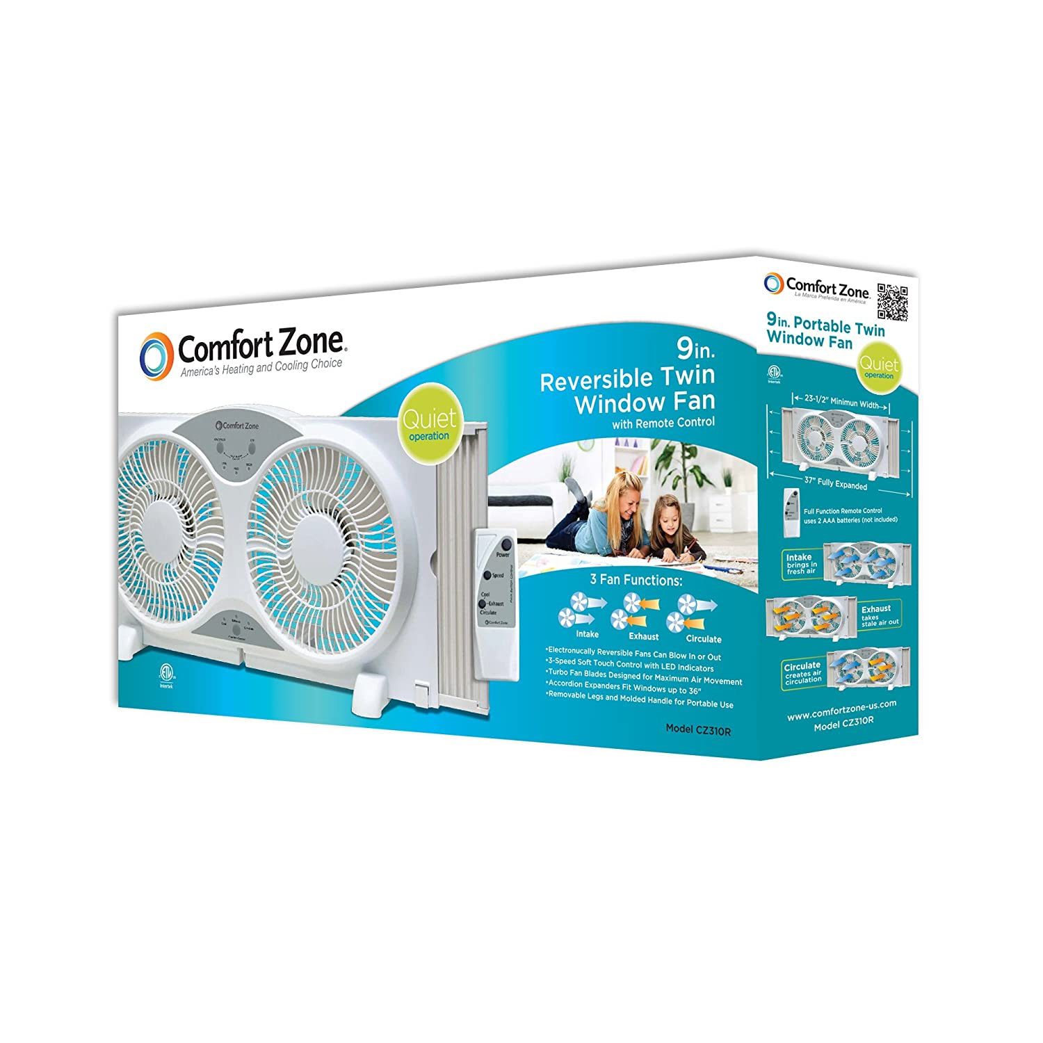 Fans taking pictures with cell phone behind barrier stock photo - Amazon Com Comfort Zone Twin Window Fan 3 Speed Fan With 9 Inch Turbo Blades With Remote Control Home Improvement