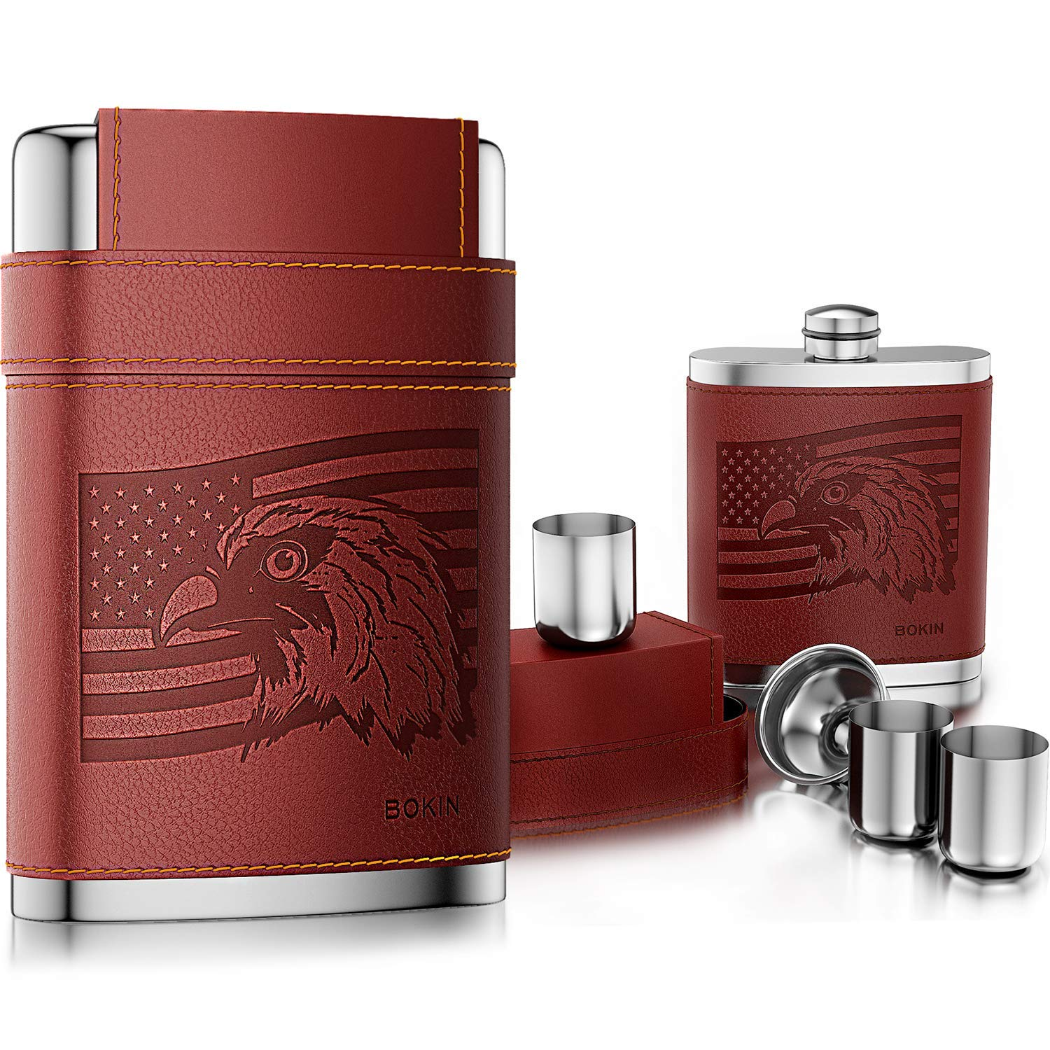 BOKIN Pocket Hip Flask 304 Stainless Steel with Funnel and 3 Cups, American Flag Eagle Brown Leather Wrapped, 100% Leak Proof for Discrete Liquor, Whiskey, Rum and Shot Drinking, Gift for Men, 8oz