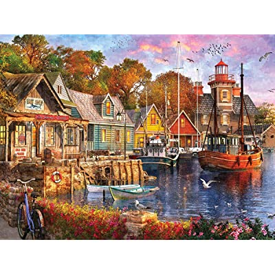 White Mountain Puzzles Harbor Evening - 1000 Piece Jigsaw Puzzle: Toys & Games