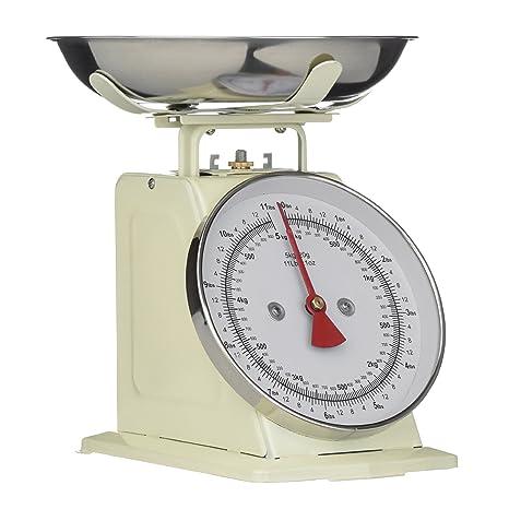 Premier Housewares - Báscula para cocina (5 kg), color crema retro