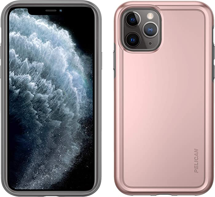 Pelican iPhone 11 Pro Case, Adventurer Series – Military Grade Drop Tested, TPU, Polycarbonate Protective Case for Apple iPhone 11 Pro, Rose Gold/Grey