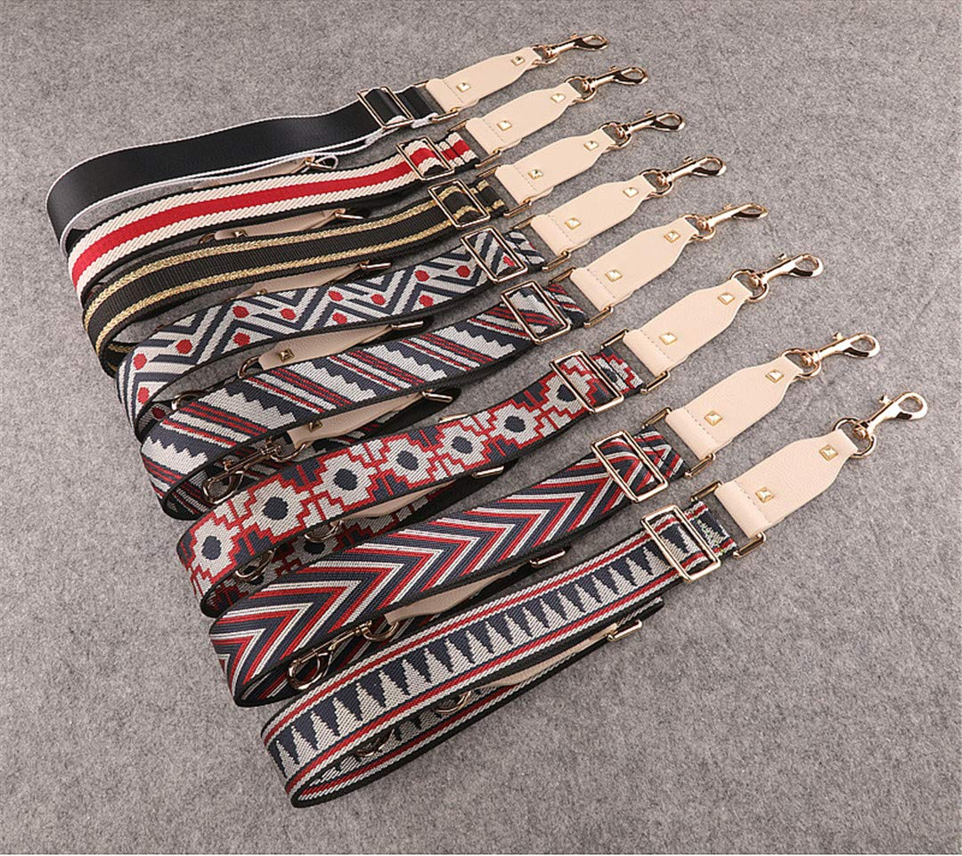 Handbags Strap Striped Dot Design National Buckle Canvas Bag Straps Trendy Easy Holding Shoulder Straps Qn385 black sawtooth