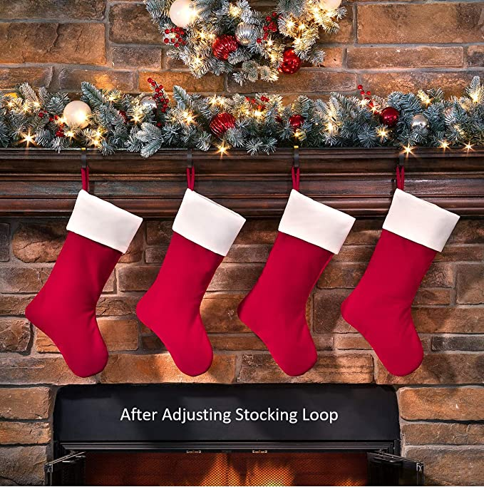 Haute Decor Hangright Deluxe Plush Christmas Stocking 20 Inch 4 Pack Home Kitchen