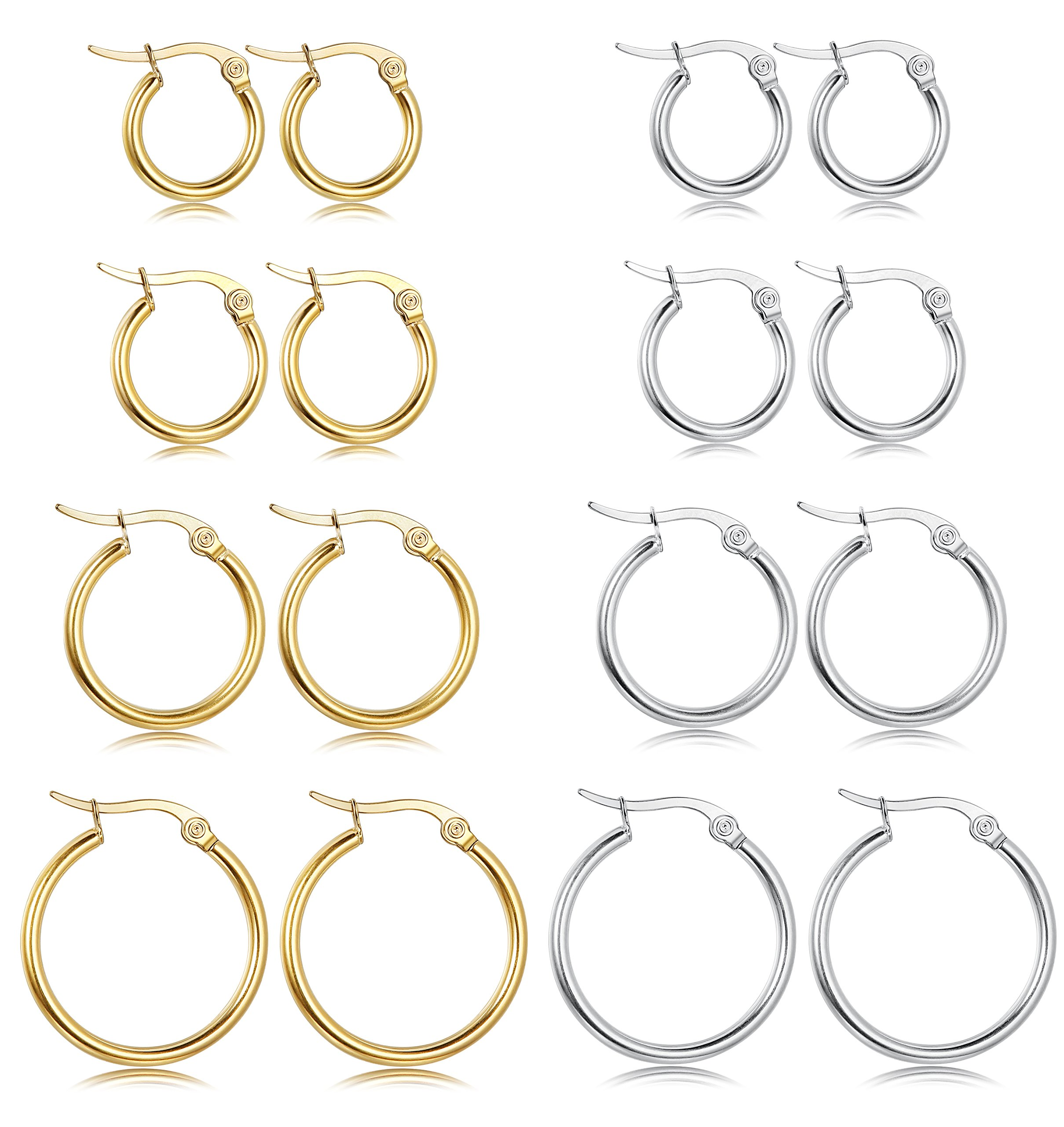 LOYALLOOK Stainless Steel Rounded Small Hoop Earrings Set for Women Nickel Free 8 Pairs White&Gold by LOYALLOOK