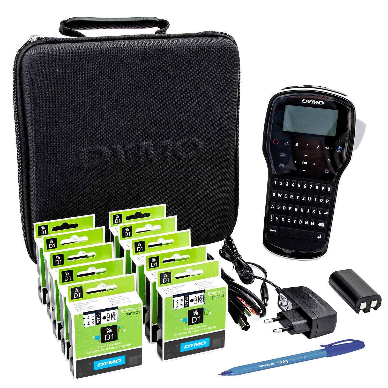 10xDymo D1-Etiketten 40913 (S0720680) 9 mm x 7 m Rolle, Schwarz auf Weiß + LabelManager 280 (S0968970) + Papermate Kugelschreiber Geschenk Newell Brands