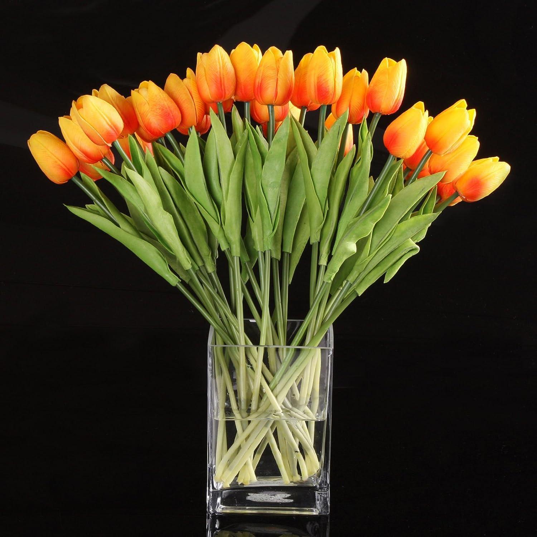 10pcs Wholesale Tulip Flower Latex Real Touch for Wedding Bouquet Decor Best Quality Flowers (KC454 orange tulip) Flower Bouquets
