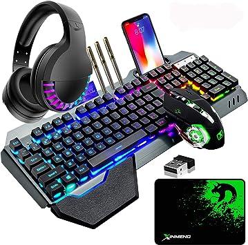 Hoopond Juego de teclado inalámbrico para juegos y ratón y auriculares y alfombrilla de ratón, 4 en 1,16 RGB retroiluminada teclado recargable , 7 ...