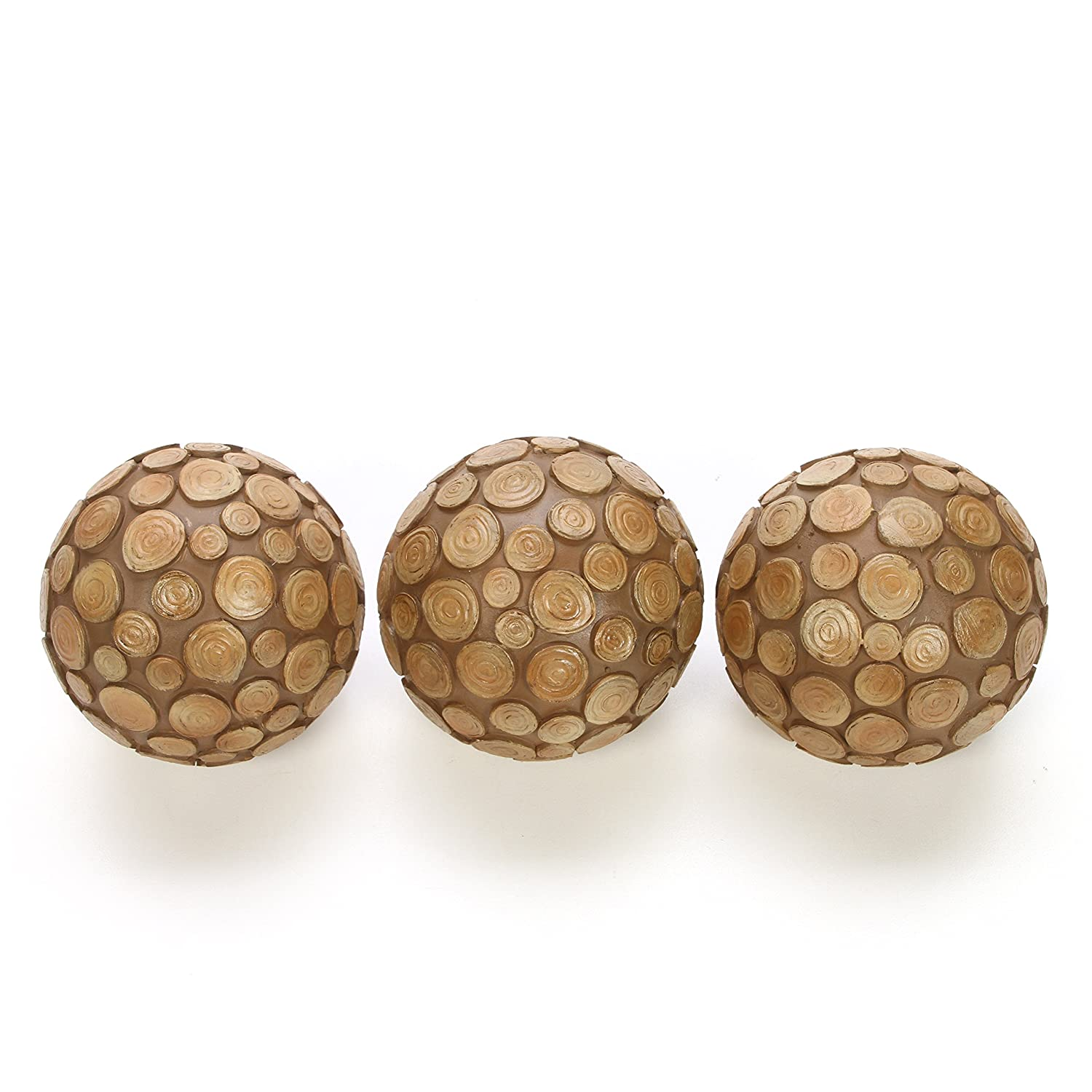 Hosley Set of Three Wood Chip Orb Set, Each is 3.94
