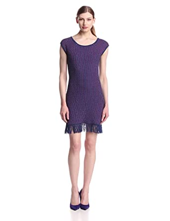Trina Trina Turk Women's Vera Cruz Short Sleeve Sweater Dress, Navy Chalk, Small