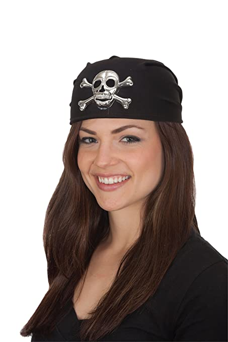 Women's Black with Silver Skull and Crossbones Pirate Cap by Jacobson Hat Company