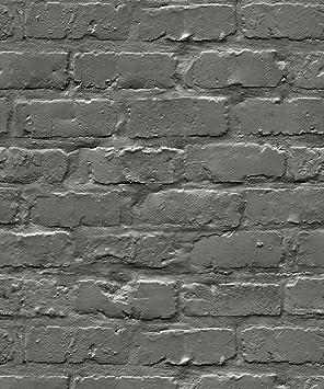 Effet Brique Gris Anthracite Laque Urban Retro Papier Peint Amazon