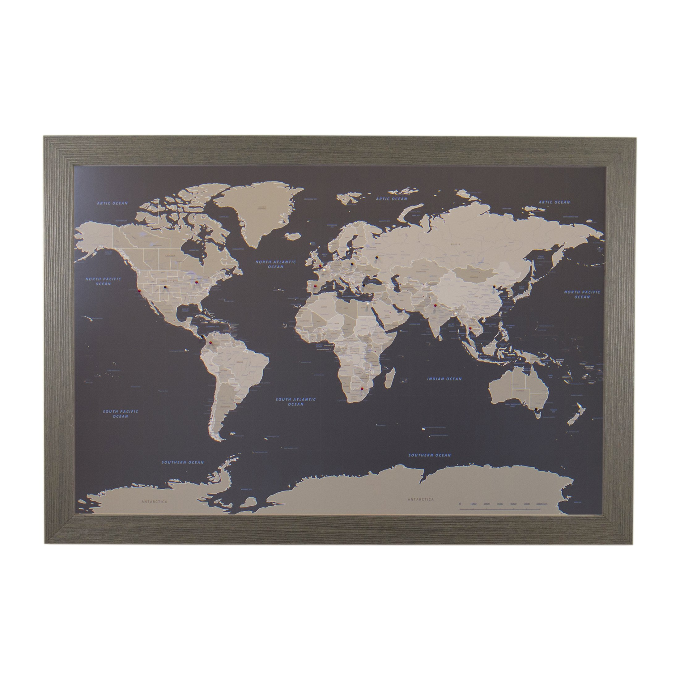 Push Pin Travel Maps Earth Toned World with Barnwood Gray Frame and Pins - 27.5 inches x 39.5 inches