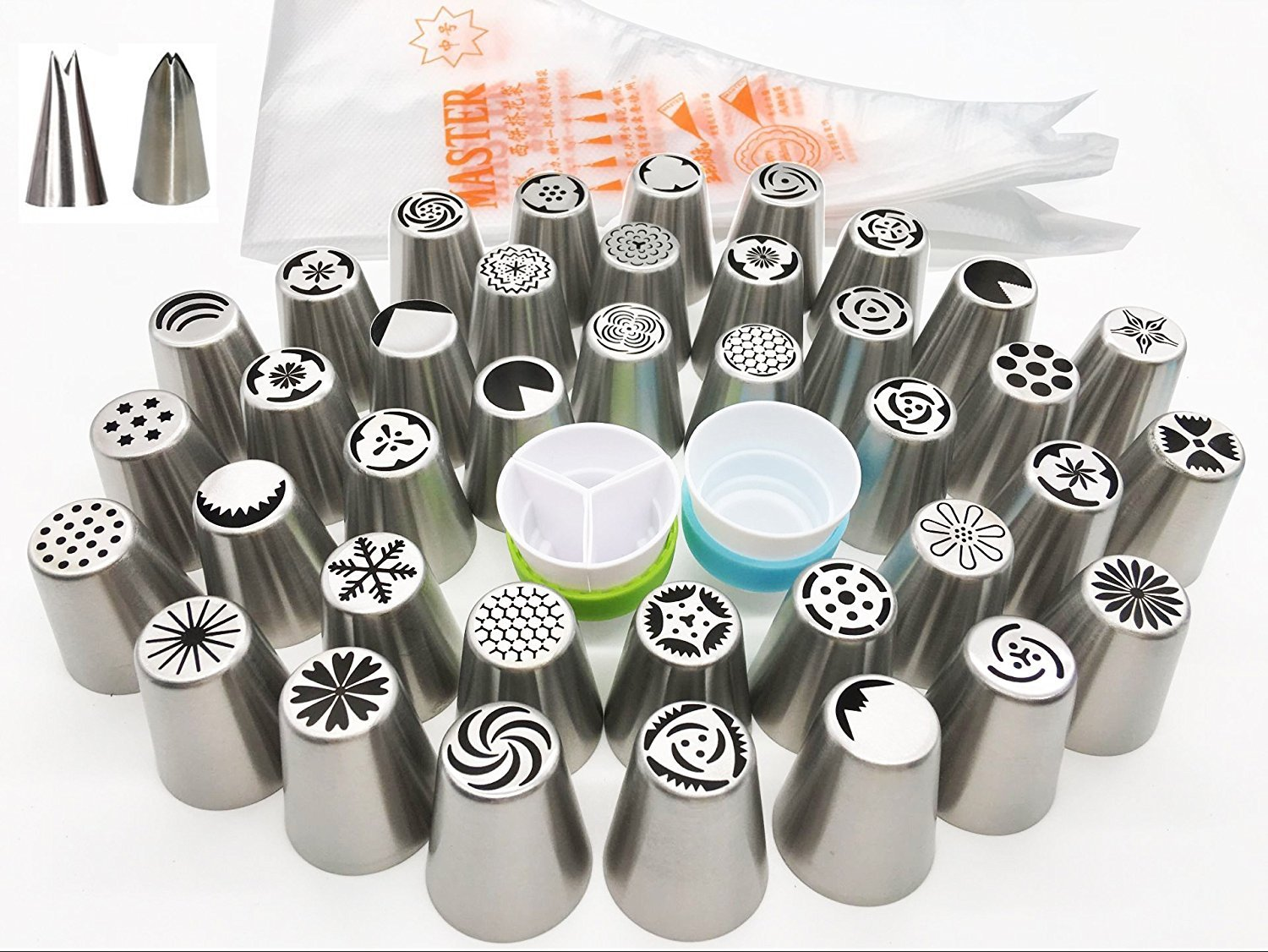 Russian Piping Tips 62 Pcs Set - KOOTIPS Cake/Cupcake Decorating Icing Tips - 37 Extra Large Stainless Steel Pastry Nozzle Tips and 2 Leaf Tips, 2 XL Coupler and a Clear Rush Kootips-1-52