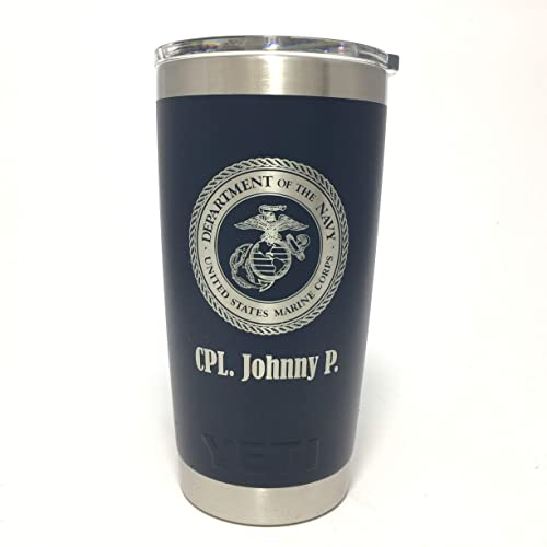 ae44fcb6956 Image Unavailable. Image not available for. Color: YETI Rambler Laser  Engraved with US Marine ...
