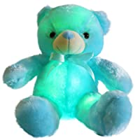 Wewill Creative Light Up LED Inductive Teddy Bear Stuffed Animals Plush Toy Colorful Glowing?Teddy Bear Christmas Gift for Kids, 20- Inch
