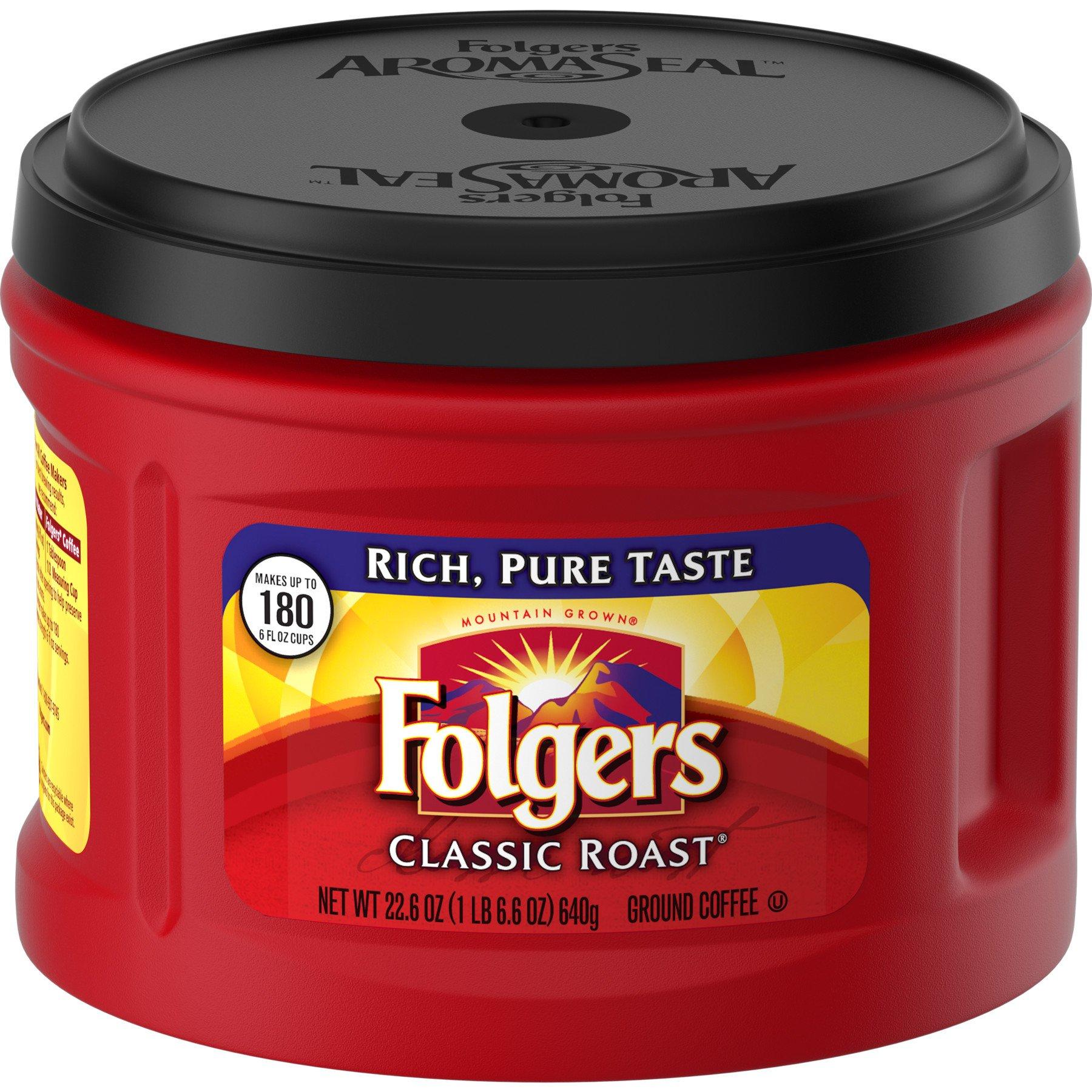 Folgers Classic Roast, Ground Coffee, Medium Roast, 22.6 Ounce, 3 Count