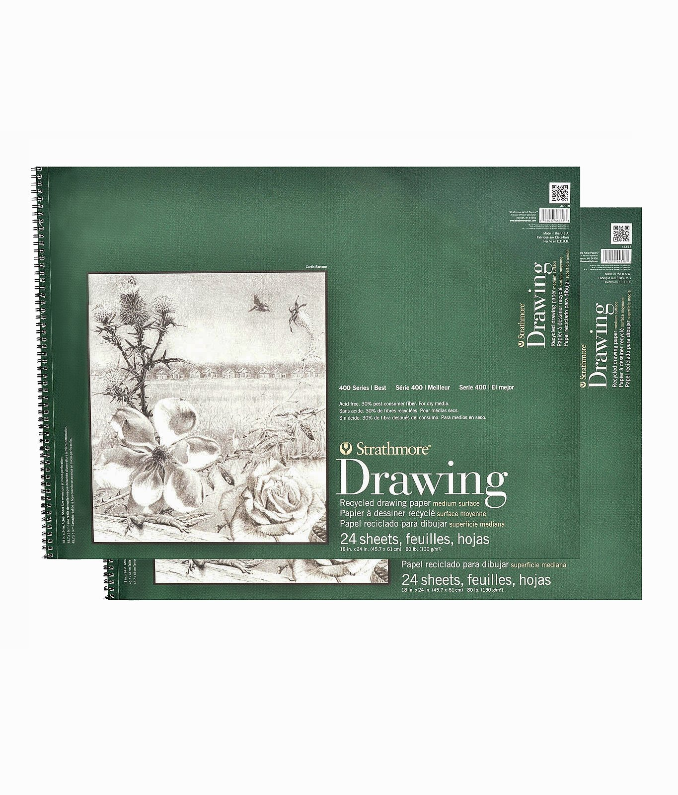 Strathmore Series 400 Premium Recycled Drawing Pads 18 in. x 24 in. [PACK OF 2 ]