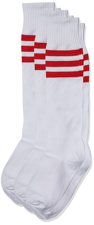 3street ユニセックス ニーハイ トリプルストライプ アスレチック サッカー チューブ ソックス 2 / 6 / 10組 B01GZWM7NY 6-Pair White+Red Stripe 6-Pair White+Red Stripe