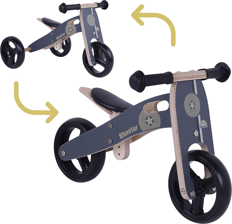 BIKESTAR 2 in 1 Bicicleta sin Pedales Madera para niños y niñas Bici Ajustable 7 Pulgadas | Bicicleta y Triciclo Mini a Partir de 1-1,5 años | 7
