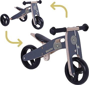 BIKESTAR 2 in 1 Bicicleta sin Pedales Madera para niños y niñas ...
