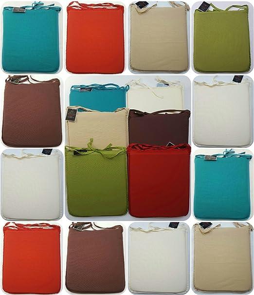 Tinta unita 100% cotone piazza sedile cuscino con fascette