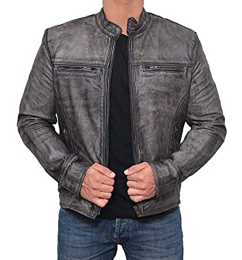 ceb4bf5bb986 Real Lambskin Men Leather Jacket - Distressed Leather Jackets for ...