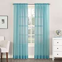 """No. 918 Emily Sheer Voile Rod Pocket Curtain Panel, 59"""" x 54"""", Aegean Blue 1 undidad"""