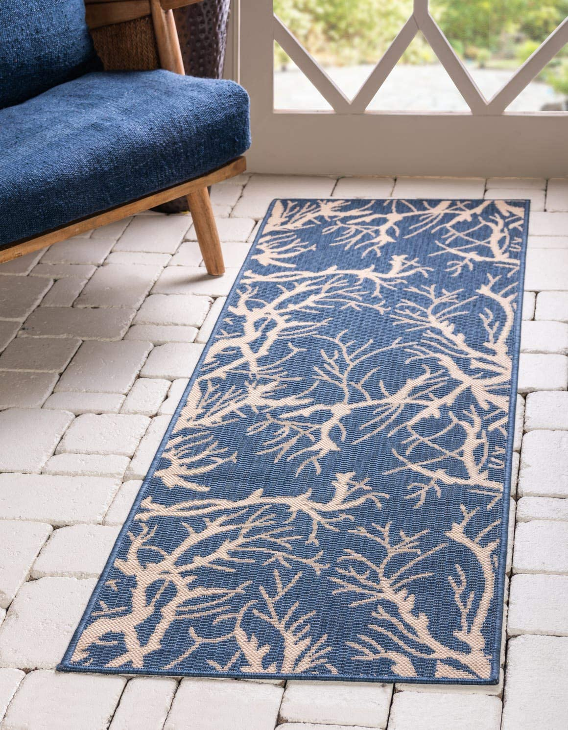 Unique Loom Outdoor Botanical Collection Abstract Pictorial Transitional Indoor and Outdoor Flatweave Blue Runner Rug 2 0 x 6 0