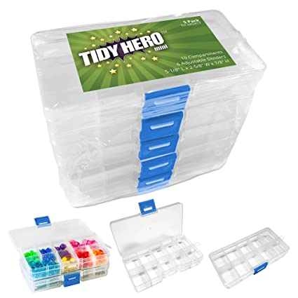 Small Plastic Storage Box with 10 Compartments and Adjustable Dividers (Pack of 5) Clear  sc 1 st  Amazon.com & Amazon.com: Small Plastic Storage Box with 10 Compartments and ...