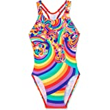 Speedo Girls' Floral Swirl Medalist One Piece, Flor