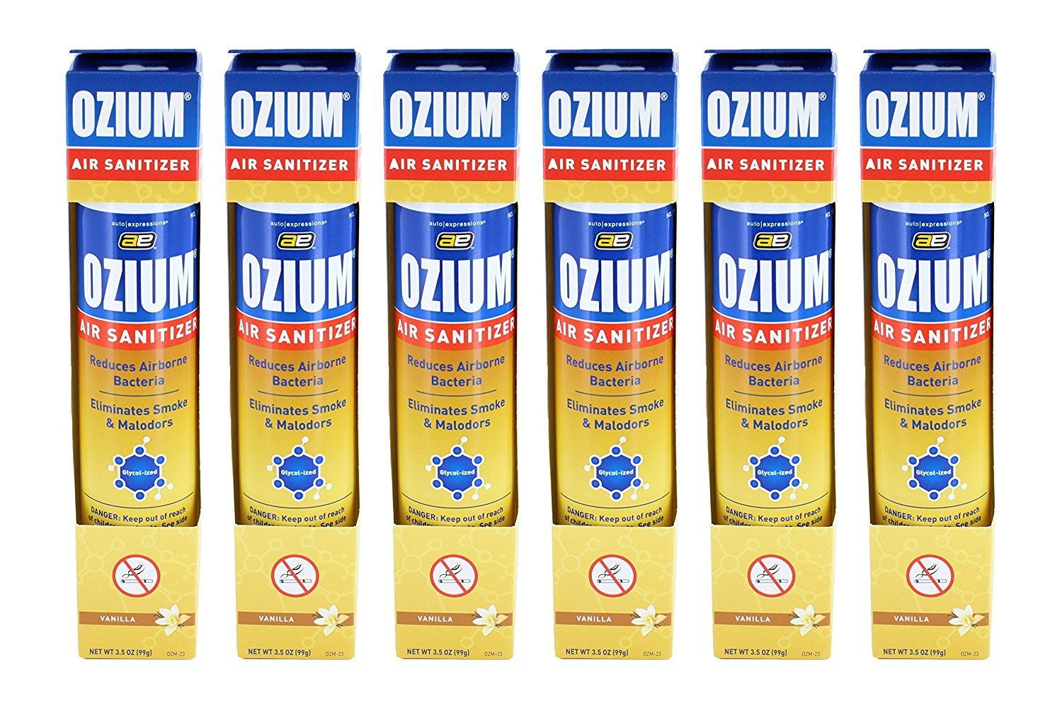 Ozium Smoke & Odor Eliminator Car & Home Air Sanitizer / Freshener, 3.5oz Spray Vanilla Scent - Pack of 6 Kraco OZM-23