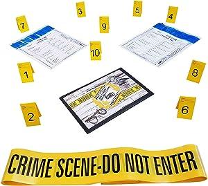 Kobe1 Crime Scene Kit:Crime Scene Barrier Tape,Do Not Enter (20Feetx1),Evidence Collection Bags (x2),Photo Evidence Markers, Frames(Cards:1 to 10),(7cm x 4cm Folded)