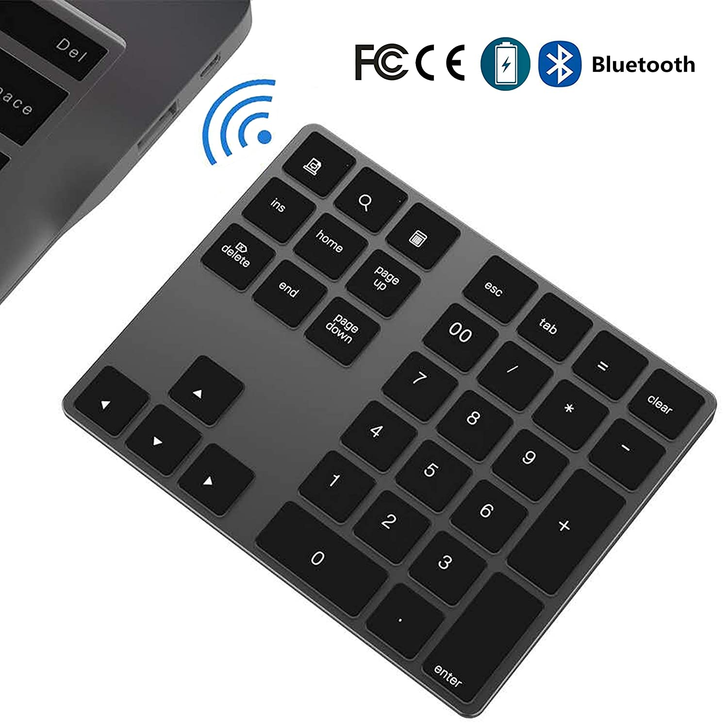 Bluetooth Number Pad Wireless Numeric Keypad Slim 34 Keys External Numpad Keyboard Data Entry Compatible With Windows Android Ios And Os System