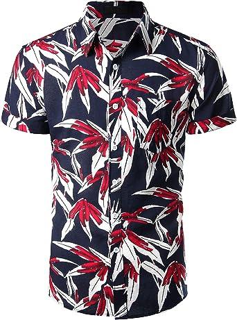 VATPAVE Camisa hawaiana casual de manga corta con botones para hombre, playera tropical - Rojo - Small: Amazon.es: Ropa y accesorios