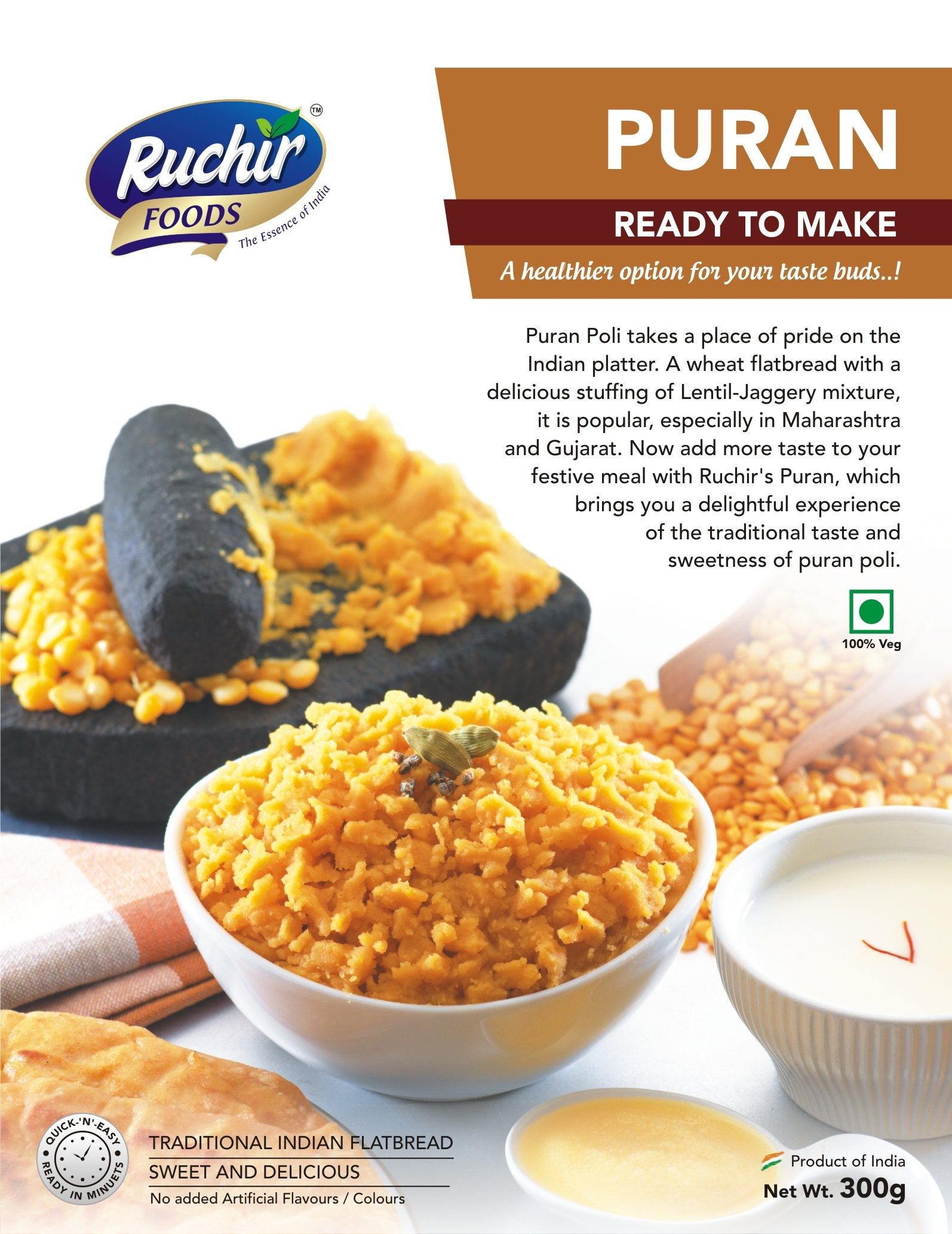 Ruchir Foods Puran - 300 Grams - Ready to Make