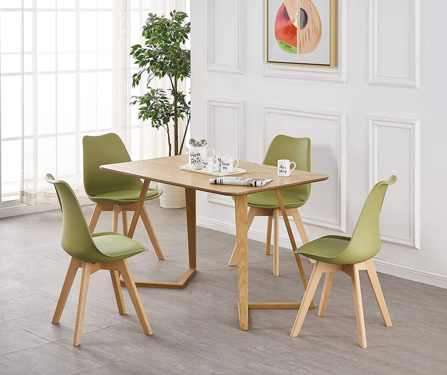 P&N Homewares: Lorenzo Tulip Chair Plastic Wood Retro Dining Chairs White, Black, Grey, Red, Yellow, Pink, Green, Blue, (GREY - SET OF 2) Lime Green