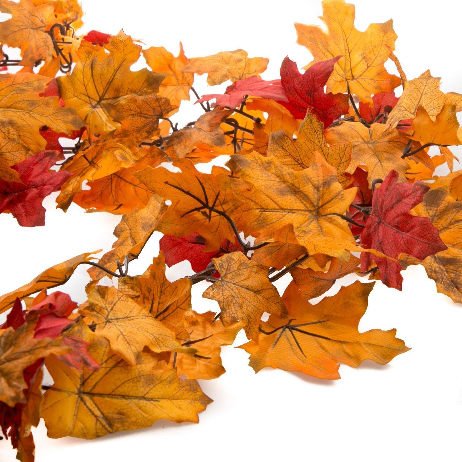 One Holiday Way 8.5 Foot Fall Colors Autumn Maple Leaves Chain Garland, Red, Orange and Yellow