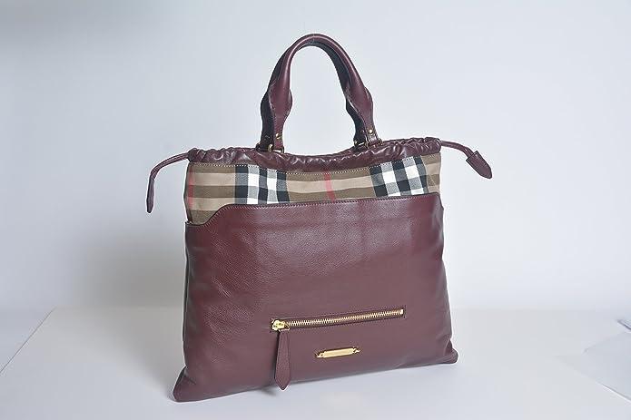 Burberry Big Crush House Check Leather Tote Deep Claret New  Handbags   Amazon.com 2ce610e670d31