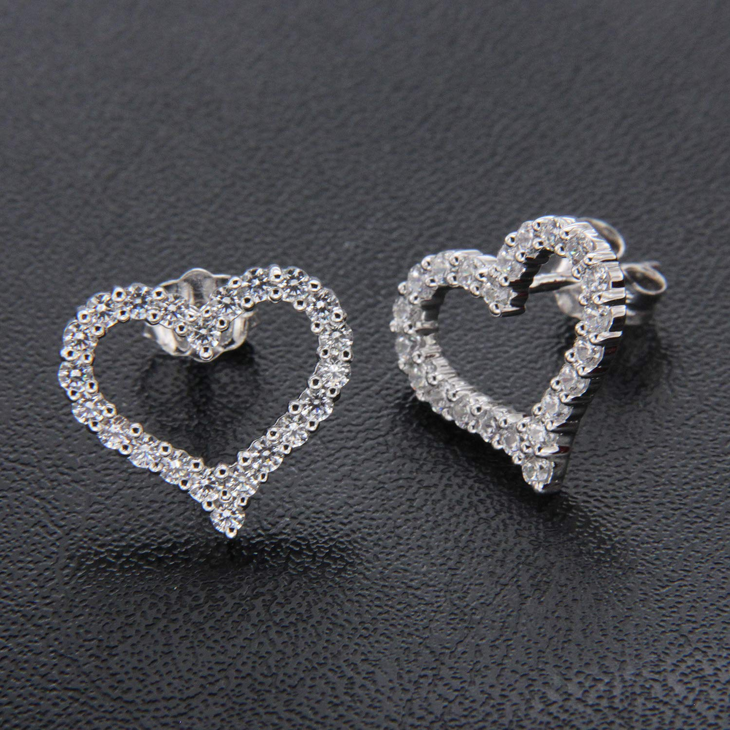 0.35 ct Round Cut Simulated Diamond 14k White Gold Finish Heart Shape Stud Earrings for Womens