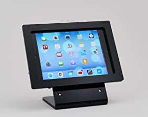 TABcare Compatible iPad Mini 1/2/3 Black VESA Security Enclosure with Desktop Mount Stand, Made from Acrlyic Material for POS, Kiosk, Store Display, Square Card Reader