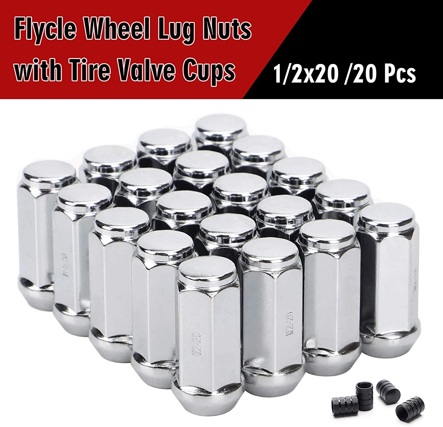 19mm Hex Wheel Lug Nut for Dodge Ford Mustang Jeep Tj Jk Cherokee Liberty Wrangler Aftermarket Wheels 20PCS 1.89 inch Chrome 1//2-20 Closed End Bulge Acorn Lug Nuts Cone Seat